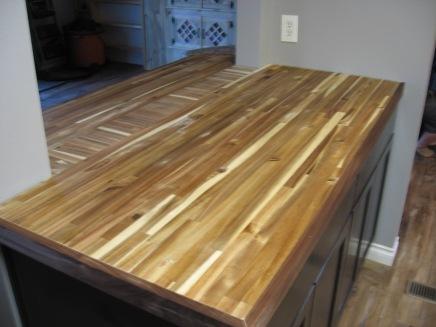 Kitchen counter top in progress. Butcher-block with walnut trim. Backsplash to be added next.